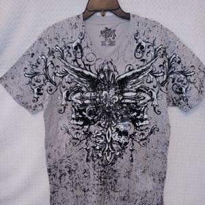 Point Zero Graphic T-Shirt Gray. and Black Short S